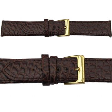 Leather Watch Strap - Crocodile Grain - Brown